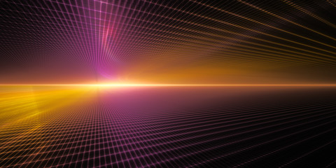 Abstract background element. Grid planes perspective. Retro sci fi style. Time and space concept. Violet and yellow colors on black.
