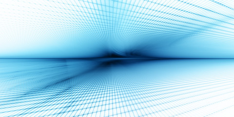 Abstract background element. Grid planes perspective. Retro sci fi style. Time and space concept. Blue and white colors.