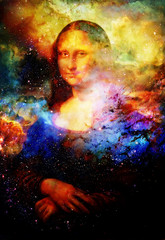 Reproduction of painting Mona Lisa by Leonardo da Vinci in cosmic space.