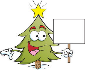 Cartoon illustration of a pine tree holding a sign.