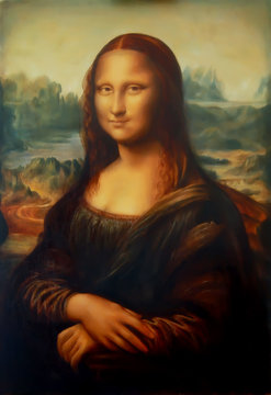 Reproduction of painting Mona Lisa by Leonardo da Vinci and light graphic effect.