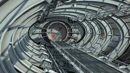 3D illustration of a bridge tunnel for spaceships or futuristic space stations, for fantasy or science fiction backgrounds.