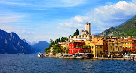 Beautiful scenic Lago di Garda - view of Malcesine village. Italy Wall mural