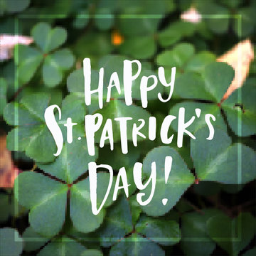 Hand drawn calligraphy Happy St. Patrick's Day poster