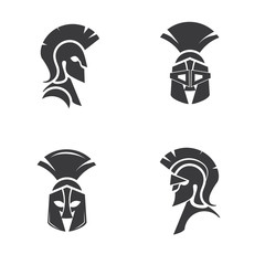 Warrior icon in spartan style. Stylized helmet and soldier silhouette with sample typography. Symbol of strength. Collection of Spartan soldier symbols. EPS 10 vector.