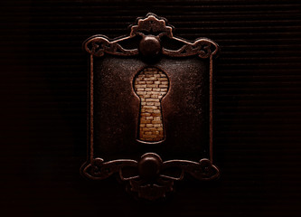 Antique keyhole with brickwall blocking it