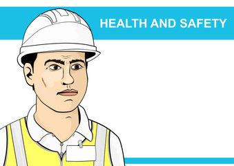Health and safety. The worker in a helmet and high visibility vest. Flat vector.