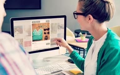 Composite image of composite image of website page blog