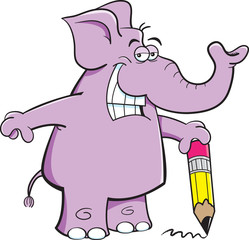 Cartoon illustration of an elephant holding a pencil.