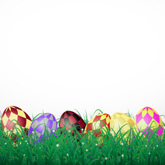 Easter eggs with squares in grass on a white shining background with flowers