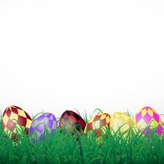 Easter eggs with squares in grass on a white shining background