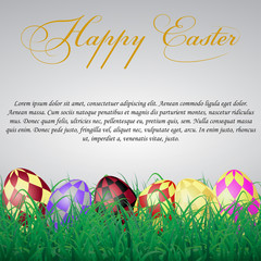 Easter eggs with squares in grass on a white shining background. With text