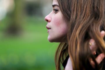 Beautiful Young Brunette Woman Portrait Outdoors