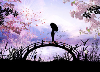 girl standing on the bridge silhouette art photo manipulation