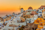 Beautiful sunset in Oia, Santorini Island,  Greece