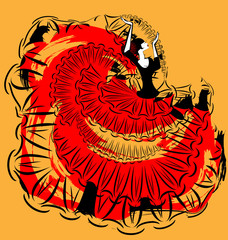 abstract red-yellow image of flamenco