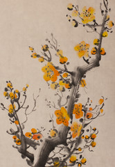bright orange plum branch