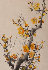 bright orange plum branch