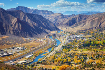 Aerial picture of Glenwood Springs valley in autumn, Colorado, USA. Wall mural