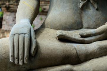 Close up hand of statue Buddha