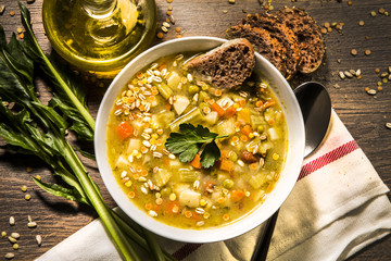 Vegetable soup with various mixed ingredients