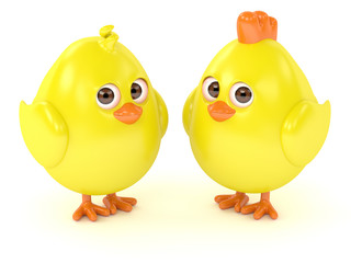 3d render of Easter funny chicks over white