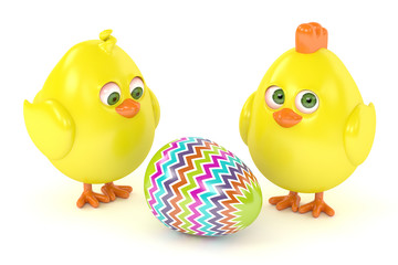 3d render of Easter chicks with painted egg