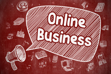 Online Business - Hand Drawn Illustration on Red Chalkboard.