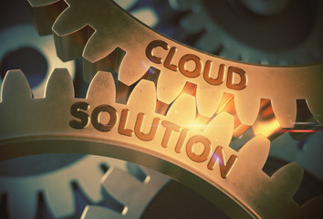 Cloud Solution on Golden Metallic Gears. 3D Illustration.
