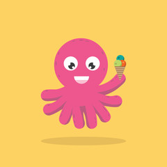 Octopus Character Eating Icecream