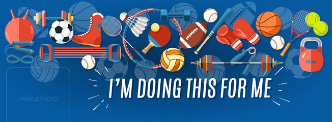 Sport banner Facebook Cover. Set of sport balls and gaming items at a blue background. Corporate facebook cover background. Healthy lifestyle tools, elements. Vector Illustration.