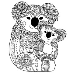 Cute Koalas cuddling for T-Shirt design,coloring book page and other design element