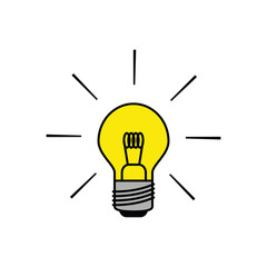 Light bulb icon shining brightly in black outlines with flat colors. Minimalistic design.
