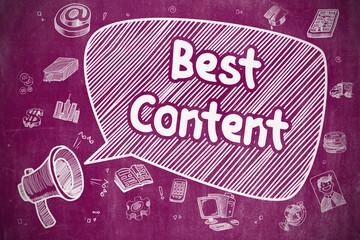 Best Content - Doodle Illustration on Purple Chalkboard.
