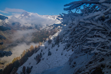 autumn and winter in the French alps