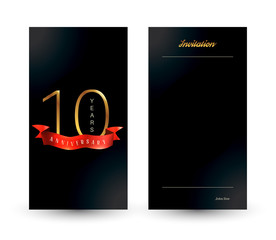 10th anniversary decorated greeting card template.