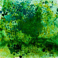 Watercolor abstract background painting, hand drawn on paper grain texture. Green. Square. For modern pattern, wallpaper, banner design.