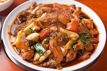 jjim dak. Braised Spicy Chicken with Vegetables.