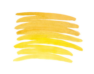 Zigzag strokes drawn by the brush painted yellow paint