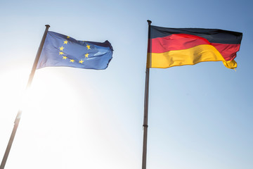 Wall Mural - european and german flag waving