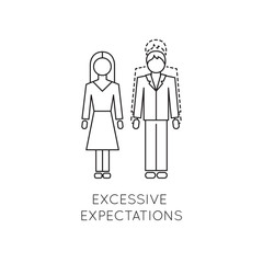 Excessive expectations line icon