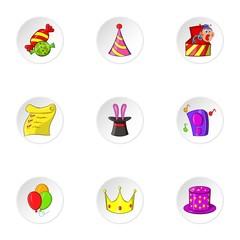 Holiday birthday icons set, cartoon style