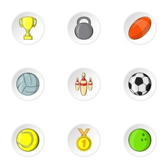 Sports accessories icons set, cartoon style