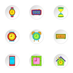 Time dimension icons set, cartoon style