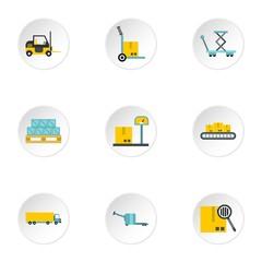Cargo icons set, flat style