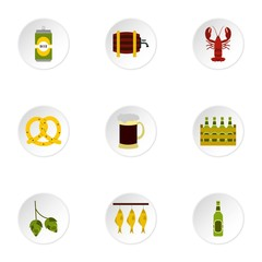 Beer festival icons set, flat style