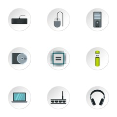 Computer data icons set, flat style