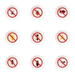 Harmful insects icons set, flat style
