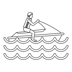 Man on jet ski icon, simple style
