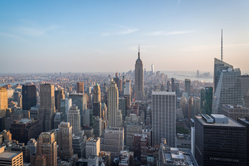 Aerial view of Manhattan skyline, New York City, USA during afternoon